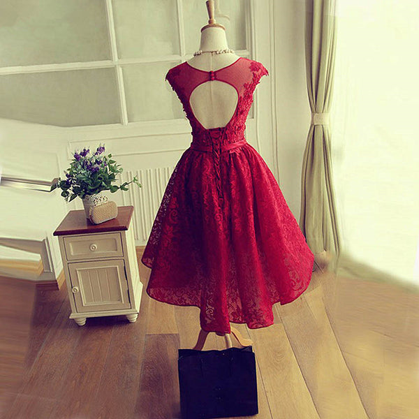 Fashionable Wine Red Lace High Low Party Dress, Lace Homecoming Dress