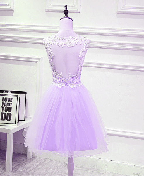 Cute Lavender Teen Girls Formal Dresses, Beautiful Party Dress with Applique, Handmade Formal Dress