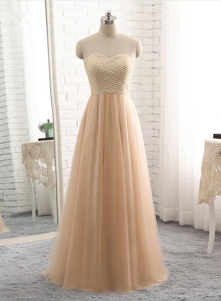 champagne long formal dress