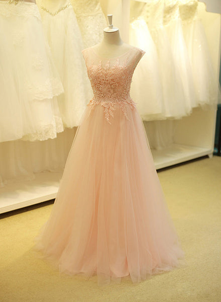 Pink Tulle Long Prom Dress with Applique 2019, Long Party Dresses
