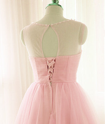 Lovely Pink Short Tulle Beaded Graduation Dresses, Pink Knee Length Prom Dress, Party Dresses