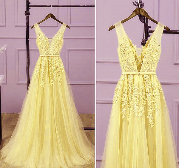 Long V-neckline Lace Applique and Tulle Bridesmaid Dress, Yellow Prom Dress Party Dress