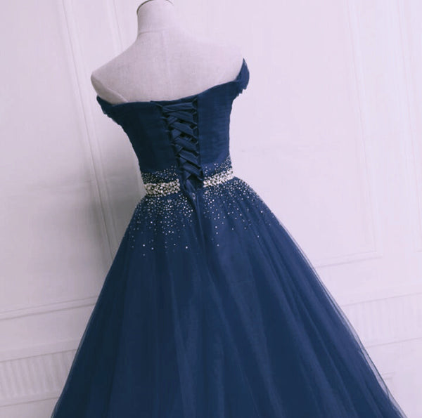 Beautiful Blue Tulle Long Sweetheart Beaded Party Dress, Blue Formal Dress