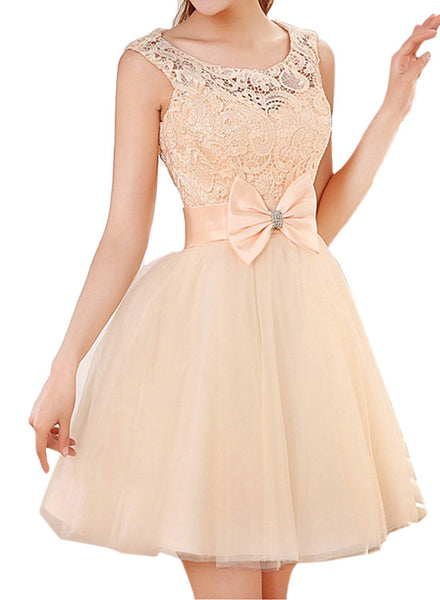 Champagne Tulle and Lace Teen Formal Dresses, Cute Party Dress, Homecoming Dress 2018