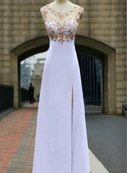 White Chiffon Beaded Slit Floor Length Party Dress, Open Back Formal Gowns, White Evening Dresses