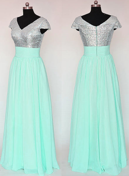 Mint Green and Sequins Long Bridesmaid Dresses, Pretty Cap Sleeves Floor Length Wedding Party Dresses