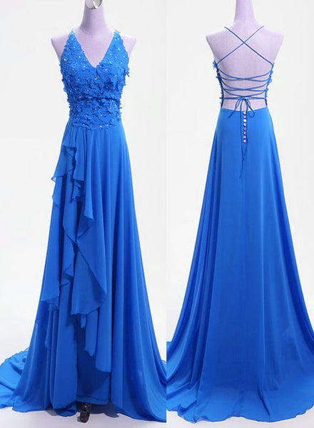 Blue Cross Back Chiffon Wedding Party Dresses, Blue Formal Gowns, Prom Dress 2019