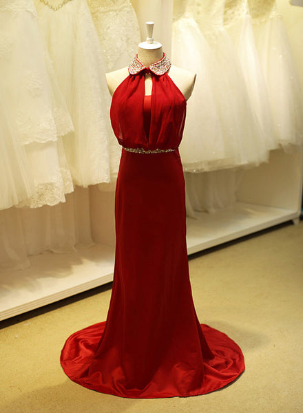 Beautiful Red Satin and Chiffon Beaded Long Party Dress, Charming Junior Prom Dress