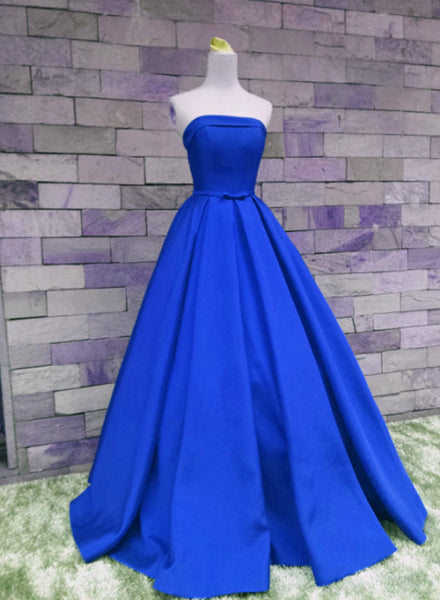 Royal Blue Satin Scoop Prom Gowns, Prom Dress 2019, Long Formal Gowns, Party Dresses