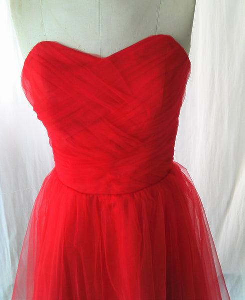 Beautiful Red Tulle Simple Homecoming Dress, Red Party Dress