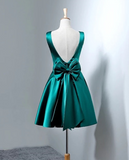 Dark Green Satin Short Homecoming Dresses, Lovely Party Dress, Homecoming Dress 2018