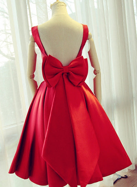 Beautiful Satin Red Party Dress, Short Homecoming Formal Dress, Prom Dresses