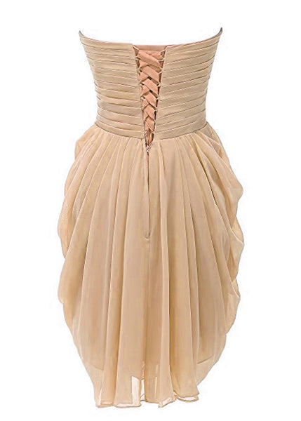 Champagne Short Chiffon Bridesmaid Dresses, Bridesmaid Dress 2018, Lovely Party Dresses