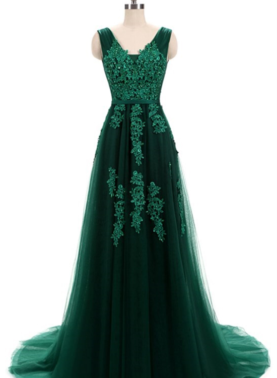 Green Tulle V-neckline Long Applique Party Gowns, Dark Green Prom ...
