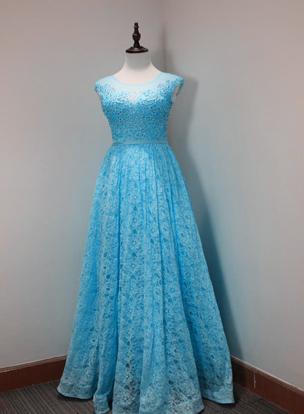 Light Blue Lace Beaded Elegant Evening Dress, Charming Formal Dresses 2019