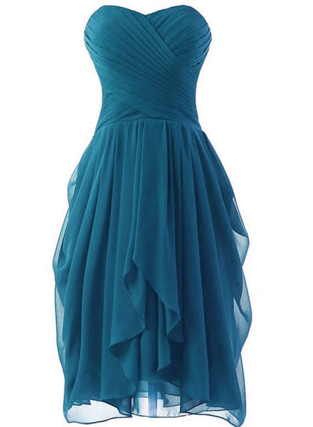 Teal short bridesmaid dress