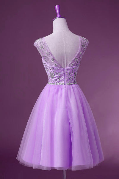 Lavender Tulle Short Knee Length Round Neckline Party Dress, Cute Party Dresses, Homecoming Dresses