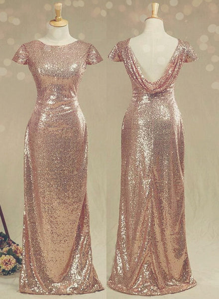 Lovely Sequins Cap Sleeves Bridesmaid Dress, Long Sequins Formal Dress