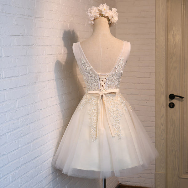 Lovely Short Tulle Party Dresses, White Homecoming Dresses, Short Prom Dress with Applique
