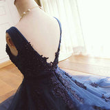 Navy Blue Homecoming Dresses, Applique Short Prom Dress, Knee Length Party Dress