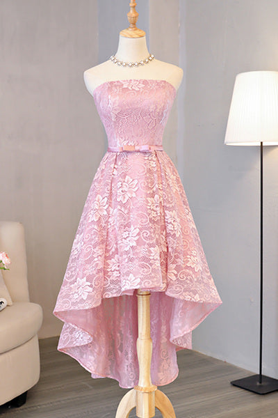 Pink Cute High Low Lace Homecoming Dress, Cute Lace Short Prom Dress
