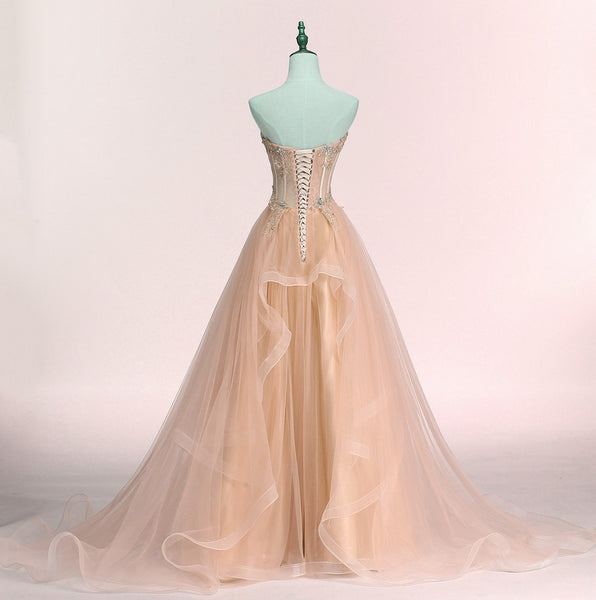 Charming Sweetheart Tulle A-line Lace Applique Party Dress, Beautiful Formal Gown