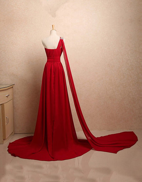 Charming One Shoulder Chiffon Elegant Evening Dress, Handmade High Quality Party Dress, Prom Dresses