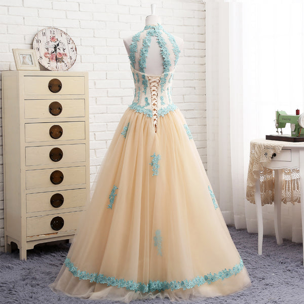 Lovely Champagne with Blue Applique Tulle Sweet 16 Gowns, Prom Gown, Prom Dress