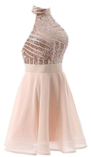 Beautiful Short Pink Sequins Knee Length Homecoming Dresses, Halter Teen Party Dress, Sequins Party Dress