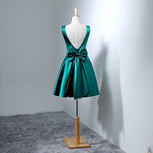 Beautiful Dark Green Satin Short Party Dress 2020, Bridesmaid Dress