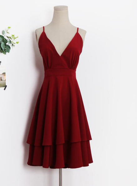 red chiffon women dress