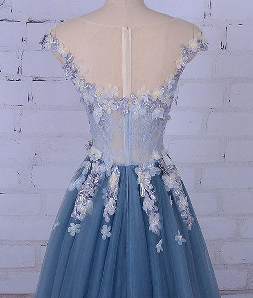 Charming Blue Floral Tulle Prom Dresses, Blue Formal Gowns, Tulle Evening Dresses