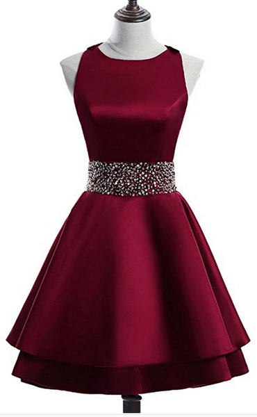 Dark Red Satin Short Two Layered Homecoming Dress, O-neckline Party Dress, Short Formal Dress