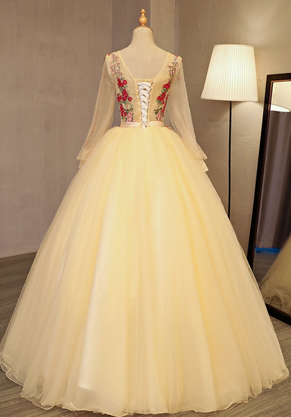 Beautiful Light Yellow Long Sleeves Quinceanera Dress, Ball Gown Sweet 16 Dress
