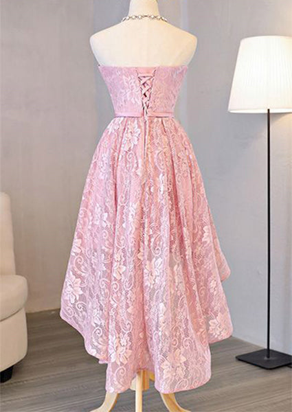 Pink Lace Lovely High Low Homecoming Dresses, Pink Short Prom Dresses