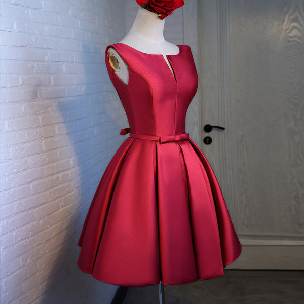 Red Satin Short Homecoming Dress 2018, Beautiful Red Party Dress, Handmade Formal Dress