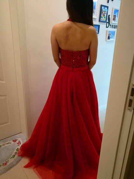 Red Sparkle Beaded Halter Backless Prom Gowns, Junior Prom Dress, Long Red Gowns