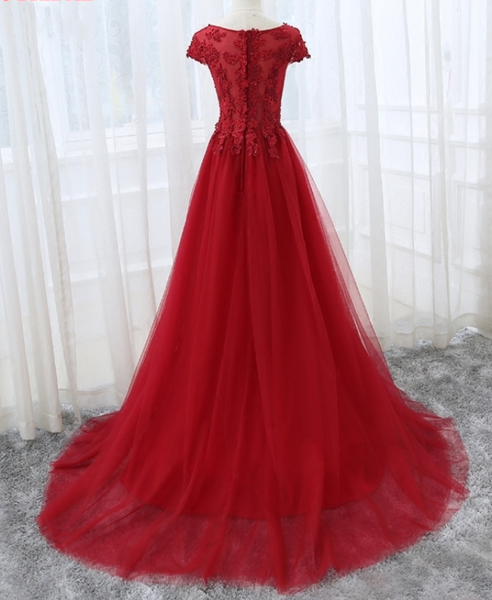 Beautiful Cap Sleeve Lace Applique Tulle Formal Gown, Prom Gowns 2019