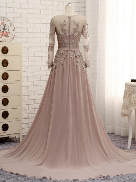 Elegant Prom Dresses, Long Sleeves Handmade Chiffon Bridesmaid Dresses, Lace Party Dresses