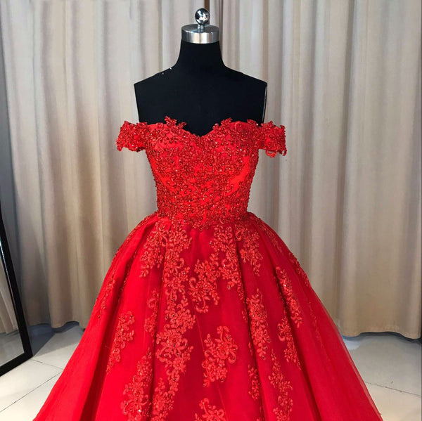 Gorgeous Red Tulle and Applique Off Shoulder Prom Dresses 2018, Red Sweet 16 Gowns, Party Dresses