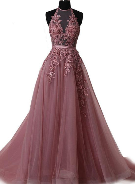 Prom Dresses 2018, Tulle Halter Floor Length Party Dresses, Formal Gowns