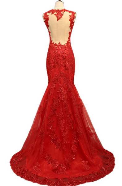 Red Mermaid Charming Evening Gowns, Red Junior Prom Dress, Party Dress 2018