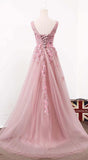 Pink Tulle Long Simple 2018 Formal Dress, Light Pink Gowns, Junior Prom Dress