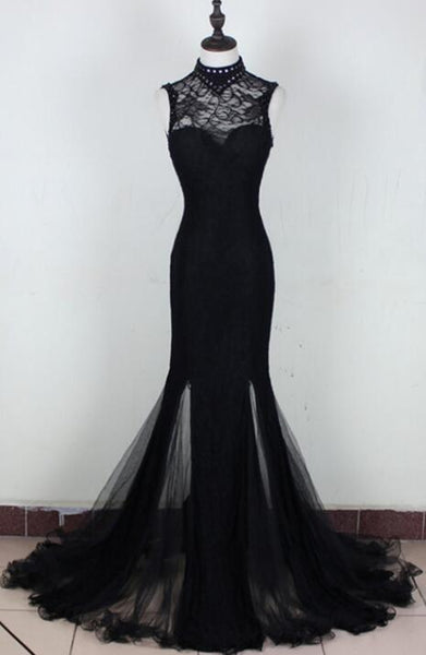 Charming Black Slit Mermaid Tulle and Lace Evening Gown, Black Formal Dresses 2019