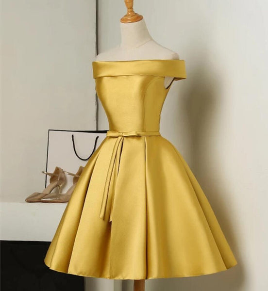 Gold Satin Off Shoulder Short Formal Dress 2019, Lovely Formal Dresses