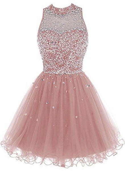 Pink Tulle Round Neckline Short Party Dress, Sequins Party Dress, Handmade Party Dresses