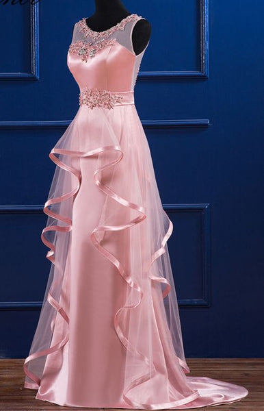 Pink Satin and Tulle Layers Long Party Dress with Lace Applique, Pink Formal Dress
