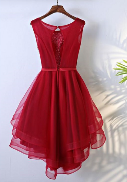 Beautiful Tulle Red Sequins High Low Party Dresses, High Low Homecoming Dresses, Pretty Teen Formal Dress