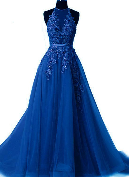 Royal Blue Halter Tulle Party Dress, Pretty Handmade Blue Prom Dress