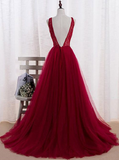 Wine Red Tulle V-neckline Floor Length Formal Gowns, Tulle Party Dress, Formal Gowns